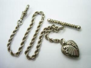 ANTIQUE VICTORIAN SOLID SILVER ALBERTINA WATCH CHAIN WITH HEART & TWISTED T BAR