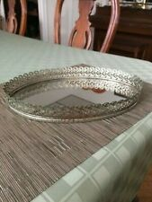 """VINTAGE OVAL GOLD FILLIGREE MIRROR GLASS PERFUME TRAY / SIZE 8 """" X 12 """""""