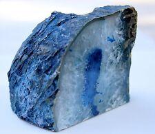 Polished Blue Natural Agate Rock Mineral Thick Slab Tealight Candle Holder