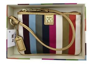 New NWT Gift Boxed Coach Multicolor Legacy Stripe & Leather Wristlet Wallet RARE