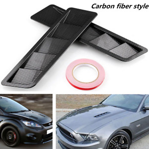 Car Truck Cooling Hood Air Vent Panel Trim Sets 2pcs Performance Carbon Fiber