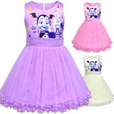 Kids Girls Vampirina Cosplay Sundress Halloween Party Sleeveless Tutu Dress