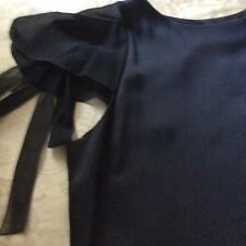 Authentic Chanel Black Satin and Silk Chiffon Blouse 44 / 10-12