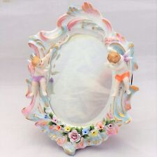 Antique Sitzendorf Mirror Cherubs Voigt Porcelain Wooden Back Strut  c 1880 6.5""