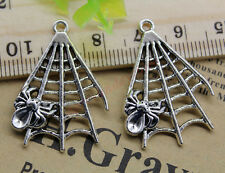 Free Shipping 8pcs Jewelry Making DIY Spider's Web Alloy Charm Pendant 32x23mm