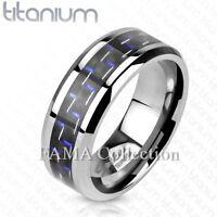 Unique FAMA Solid Titanium Blue / Black Carbon Fiber Inlay Band Ring Size 9-13