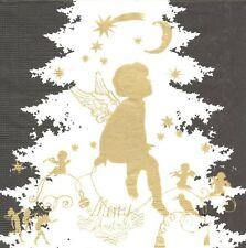 2 Serviettes en papier Ange Sapin Noël - Paper Napkins Angel Black Gold