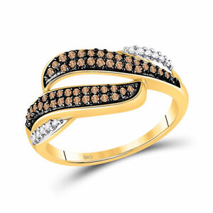 10kt Yellow Gold Womens Round Brown Diamond Band Ring 1/3 Cttw