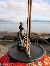 FAIR TRADE CERAMIC W/ BUDDHA STATUE TIBETAN BUDDHIST INCENSE BURNER STATUE NEPAL