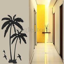 Tall Coconut Palm Tree Beach Seagulls Vinyl Wall Sticker Home Decor Decal Mural