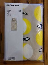Ikea Glodande Yellow Tan Eyeballs Twin Size Duvet Pillowcase Bedding NEW