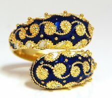 Greek Enamel Artisan Cobalt Ring 18 karat