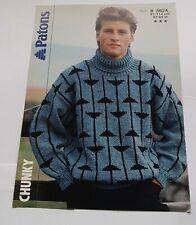 Vintage Knitting Pattern Patons Chunky Knit Mens Motif Sweater Jumper