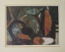 Mid Century Modern Cubist Hand Colored Etching Marilyn Evans 1/12 1953