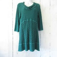 CMC Tunic Top Dress S Small Green Black Textured Lagenlook Cowl Neck 3/4 Sleeve