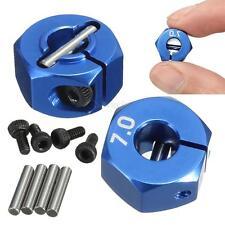 HSP HPI Tamiya Car RC Blue Aluminum 7.0 Wheel Hex 12mm Drive w/ Pins Screws 4Pcs