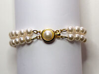 Vintage 6mm Majorca Double 2 Strand Pearl Bracelet 7 Inches