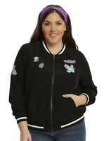 HOT TOPIC Disney Alice in Wonderland Satin Bomber Jacket Patches New Plus 2X