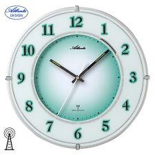 ATLANTA 47 Horloge murale radio-pilotée vert Silencieux avec Lumière éclairage