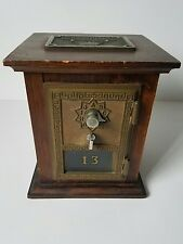 Vintage USPS Post Office Lock Box Door Wooden Coin Bank by R.P. Co 1965