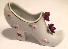 Vintage Small Porcelain Woman's High Heel Shoe Souvenir Of Mount Vernon Ny