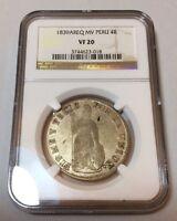 1839 Peru South 4 reales AREQ NGC Arequippa Lima Cuzco silver cob republican