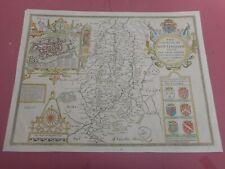 100% ORIGINAL LARGE NOTTINGHAMSHIRE MAP BY JOHN SPEED C1676 VGC HAND COLOURED