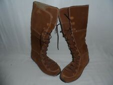 Timberland Brown Suede Leather Knee High Lace Up Boots Lined Womens Size 5.5W