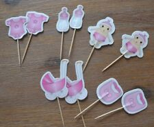 Baby Girl Pink Cupcake toppers 10 pieces for baby shower cake