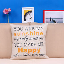 You Are My Sunshine Cotton Throw Pillow Cases Cushion Cover Sofa Car Home Decor