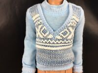 Barbie Ken Steve Ryan Doll Sweater Vest Winter Light Blue