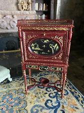 Vintage Miniature Dollhouse Bespaq Secretary Cabinet Asian Hand Painted Wood