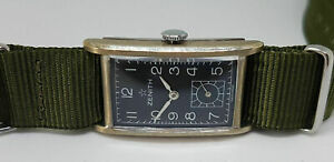 USED RARE 1940'S ZENITH SUB SECOND BLACK DIAL MANUAL WIND MAN'S WATCH