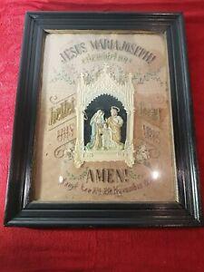 Klosterarbeit Heiligenbild Stickerei Edelweiß Wachs Jesus Maria Joseph 1892