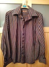 Topman brown orange white striped cotton shirt size medium M