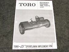 """Toro 25"""" Sportslawn Parts Manual Implement Sn# 10618 101 Thru 10619 101 And Up"""