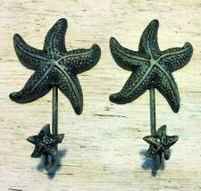 "PAIR OF ANTIQUE BLUE GRAY STARFISH HOOKS ocean star fish seashell beach 6"" in"