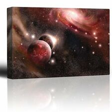 Red Starry Galaxy with Floating Planets - Canvas Art Home Decor - 24x36 inches