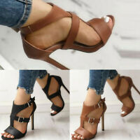Womens Ladies High Stiletto Heels Shoes Ankle Strap Buckle Roma Peep Toe Sandals