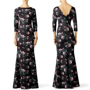 Slate & Willow Purple Rose Trumpet Gown 10 Dark Floral Boat Neck 3/4 Sleeve Maxi