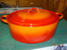 "New listing Vintage Large Le Creuset ""H� Flame Orange Dutch Oven Pot"