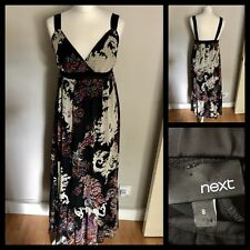 NEXT Black Strappy Paisley Print Long Maxi Dress Size 8 Floaty Party Wedding VGC