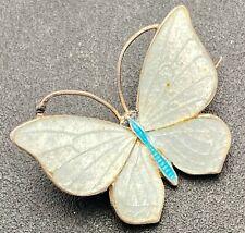 exquisitely delicate Marius Hammer art nouveau silver & enamel butterfly brooch
