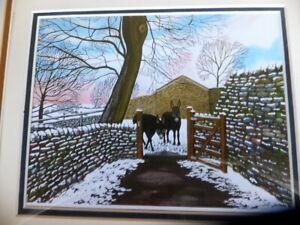 Donkeys' first snow framed print under glass Liz Clarke (UK artist)