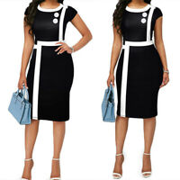 Women's Short Sleeve Colorblock Party Cocktail Bodycon Office Work Pencil Dress