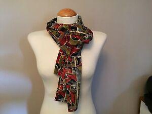 """Vintage Fashion Scarf - Burgundy & Black - 66.5"""" x 10"""""""