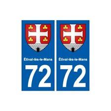 72 Étival-lès-le-Mans  blason autocollant plaque stickers ville -  Angles : droi