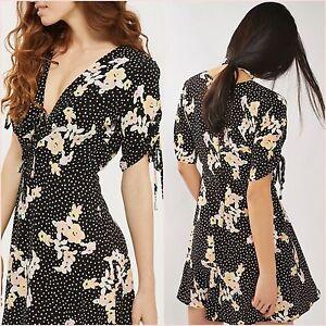 SALE TopShop Black Spot Floral Tea Short Sleeve Mini Dress Size 6 UK US 2 ❤