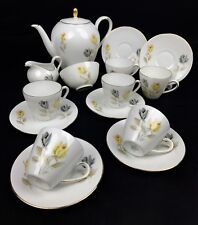Vintage German Coffee / Tea Set - Seltmann Weiden Bavaria - Yellow And Grey Rose