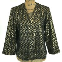 NEW Chicos Travelers Coll 2 Large Jacket Black Gold Texture Glenda Party Work